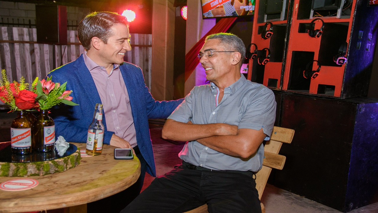 Ricardo Nuncio (left), managing director at Red Stripe chats with Red Stripe chairman Richard Byles.
