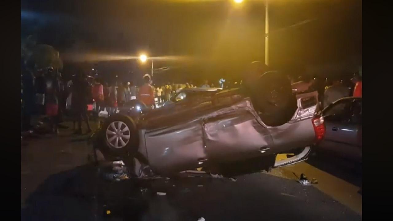 The scene of Saturday's crash in Port Antonio, Portland.