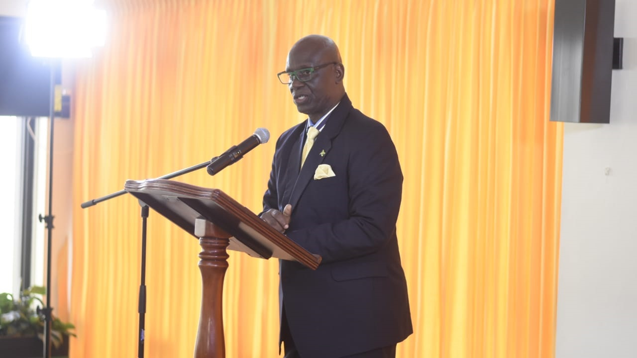 Local Government Minister, Desmond McKenzie addresses journalists at a press conference Monday. (PHOTO: Marlon Reid)