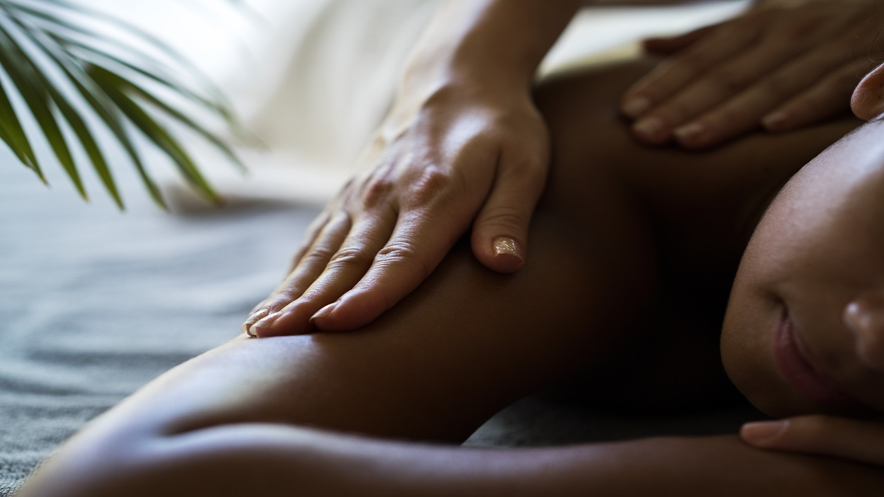 iStock photo of a woman receiving a massage.