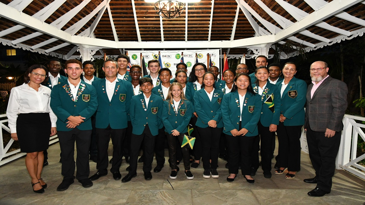 Members of Jamaica's delegation at the opening ceremony for the 2018 Caribbean Amateur Junior Golf Championship at Caymanas Golf Course on Wednesday.
