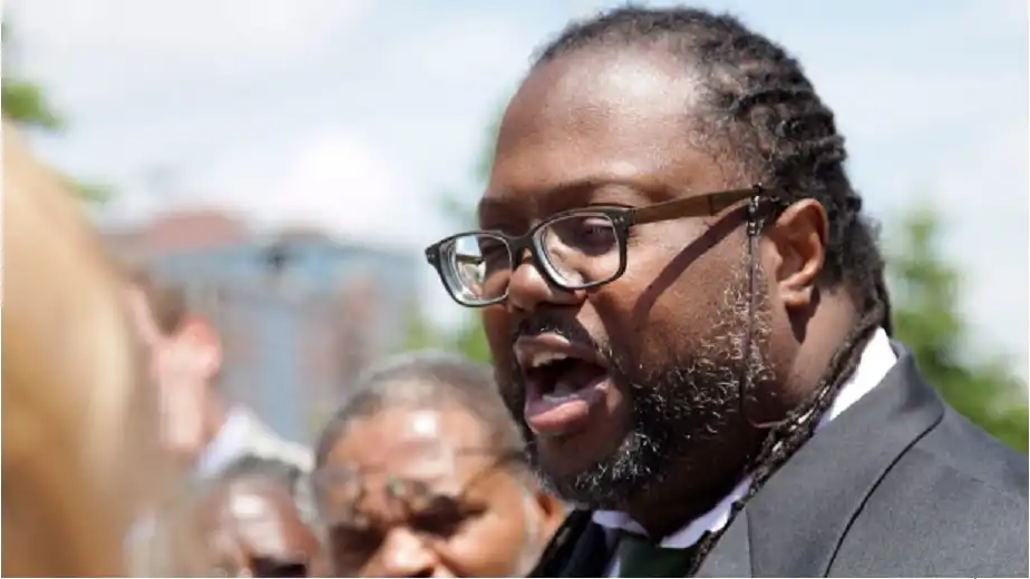 Lawyer Selwyn Pieters, with the Black Action Defence Committee, speaks outside coroner's court in Toronto on Friday, June 30, 2017. (THE CANADIAN PRESS/Colin Perkel)