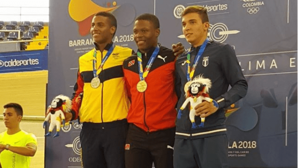 (l-r) Kevin Quintero of Colombia, Nicholas Paul, and  Luis Cordon of Guatemala.