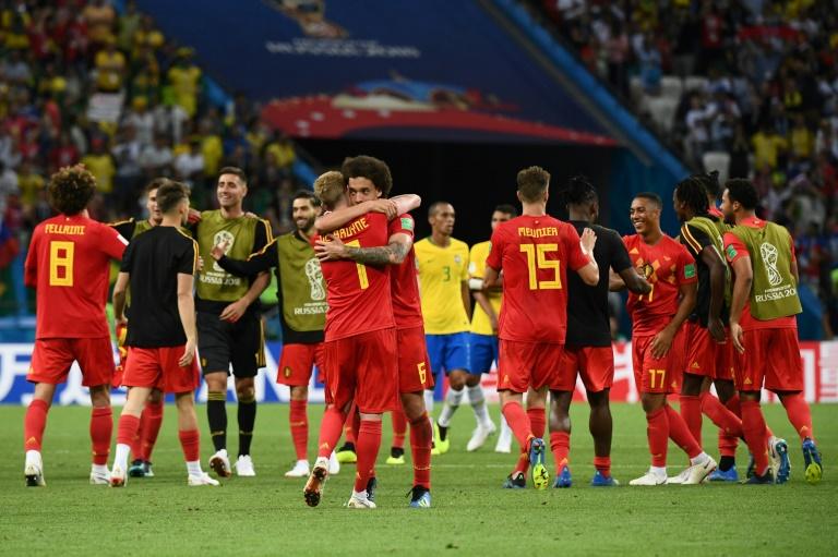 Le milieu de terrain Kevin De Bruyne buteur lors de la qualification de la Belgique en demi finale du Mondial le 6 juillet 2018