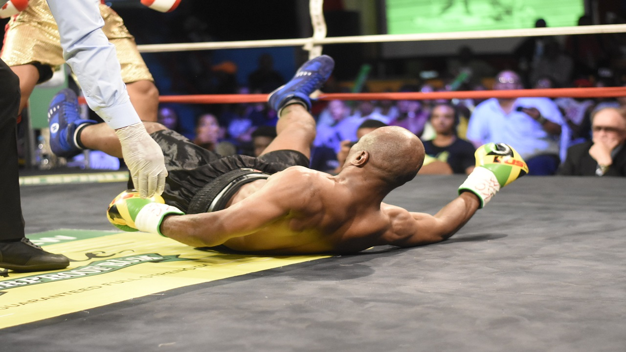 Jamaica's Devon Moncrieffe hits the canvas during the second semi-final bout of Season 8 of the Wray & Nephew Contender welterweight series against Canada's Ricardo Salas on Wednesday night, at the Chinese Benevolent Association. (PHOTO: Marlon Reid).