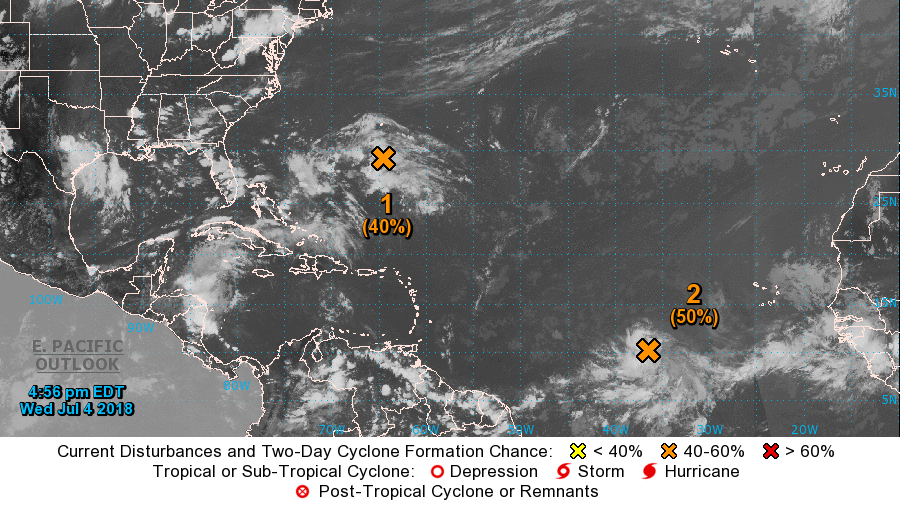 Tiny Hurricane Beryl continues west; Tropical Depression Three forms off east coast