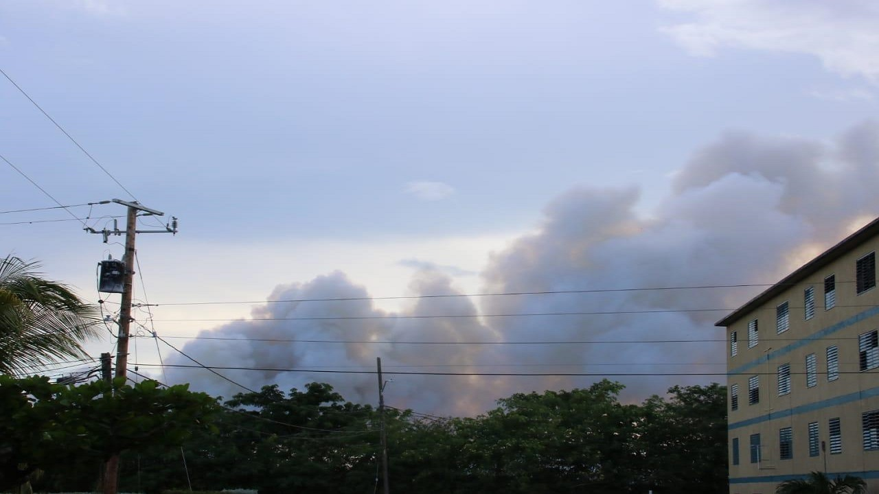 Smoke from the Riverton City dump is pictured on Sunday.