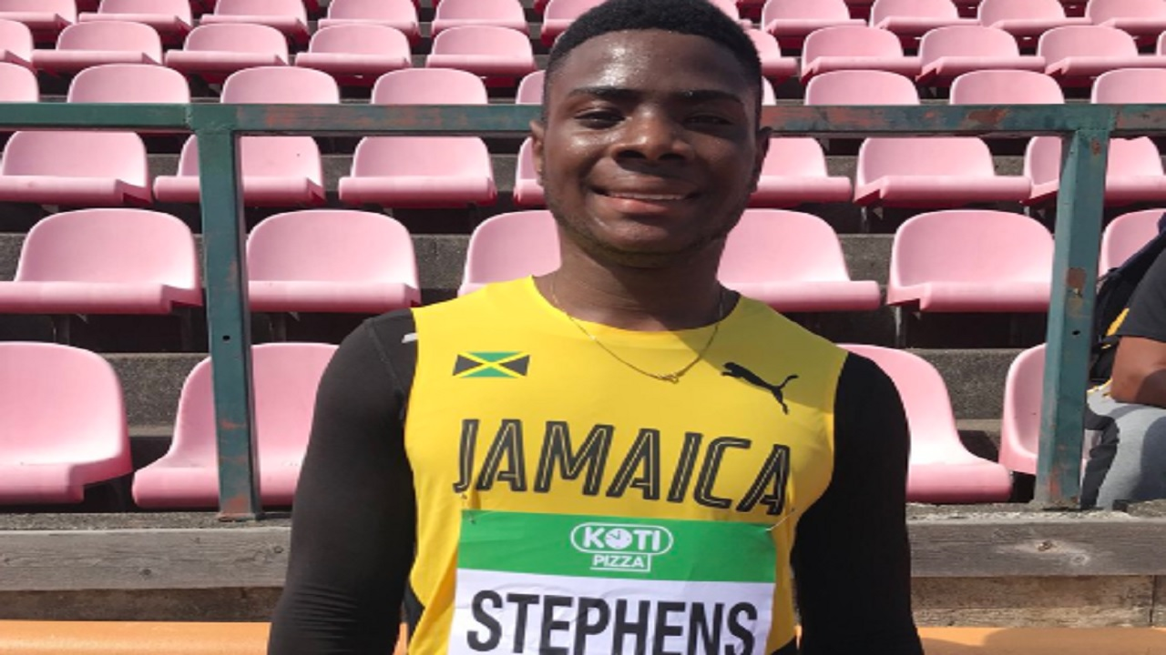 Jamaica's sprinter Michael Stephens in Tampere, Finland.