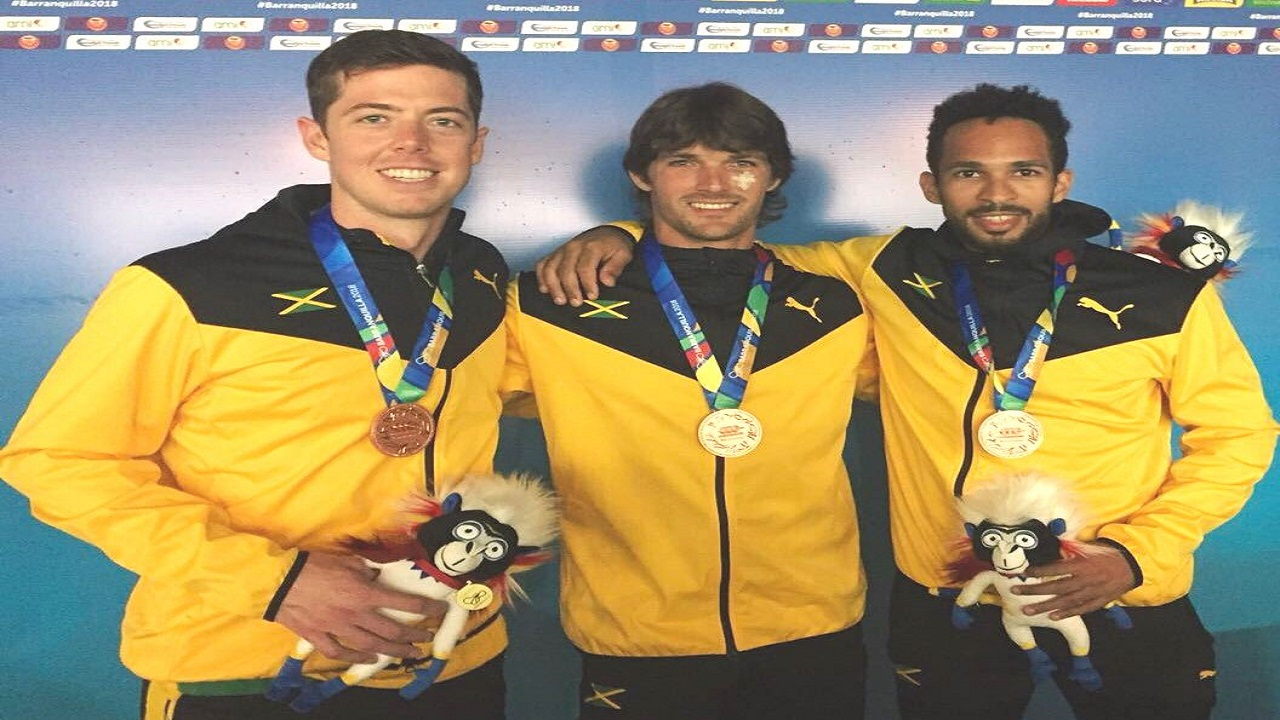 Jamaica's senior national squash team players, (from left) Chris Binnie, Bruce Burrowes and Lewis Walters, who won the bronze medal in team competition at the 2018 CAC Games in Barranquilla, Colombia  last Thursday. Binnie also won bronze in the individual men's competition.