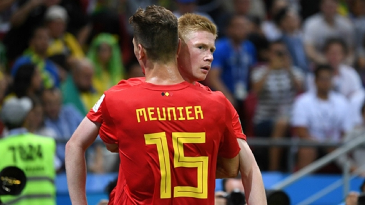 Thomas Meunier and Kevin De Bryune celebrate a Belgium goal.