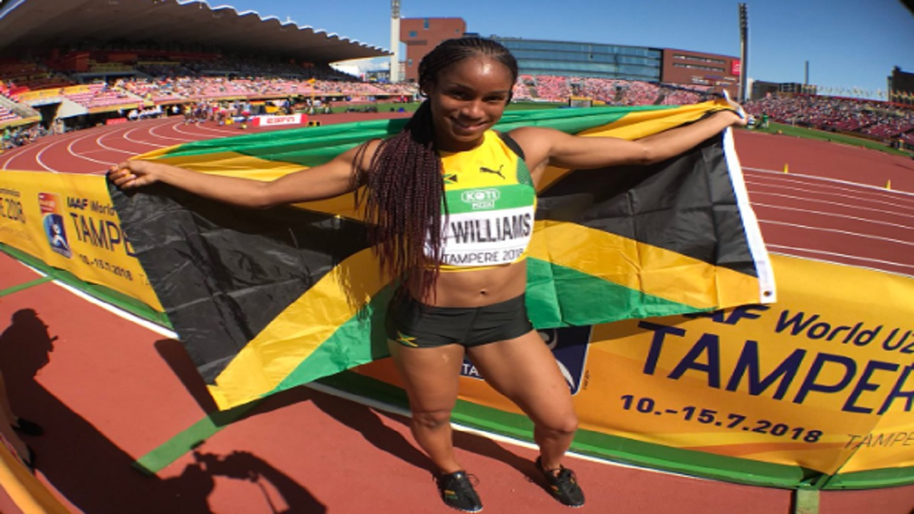 Jamaican Briana Williams celebrates after winning the gold medal in the women's 200m to take the sprint double on Saturday's fourth and penultimate day of the IAAF World Under-20 Championships in Tampere, Finland.