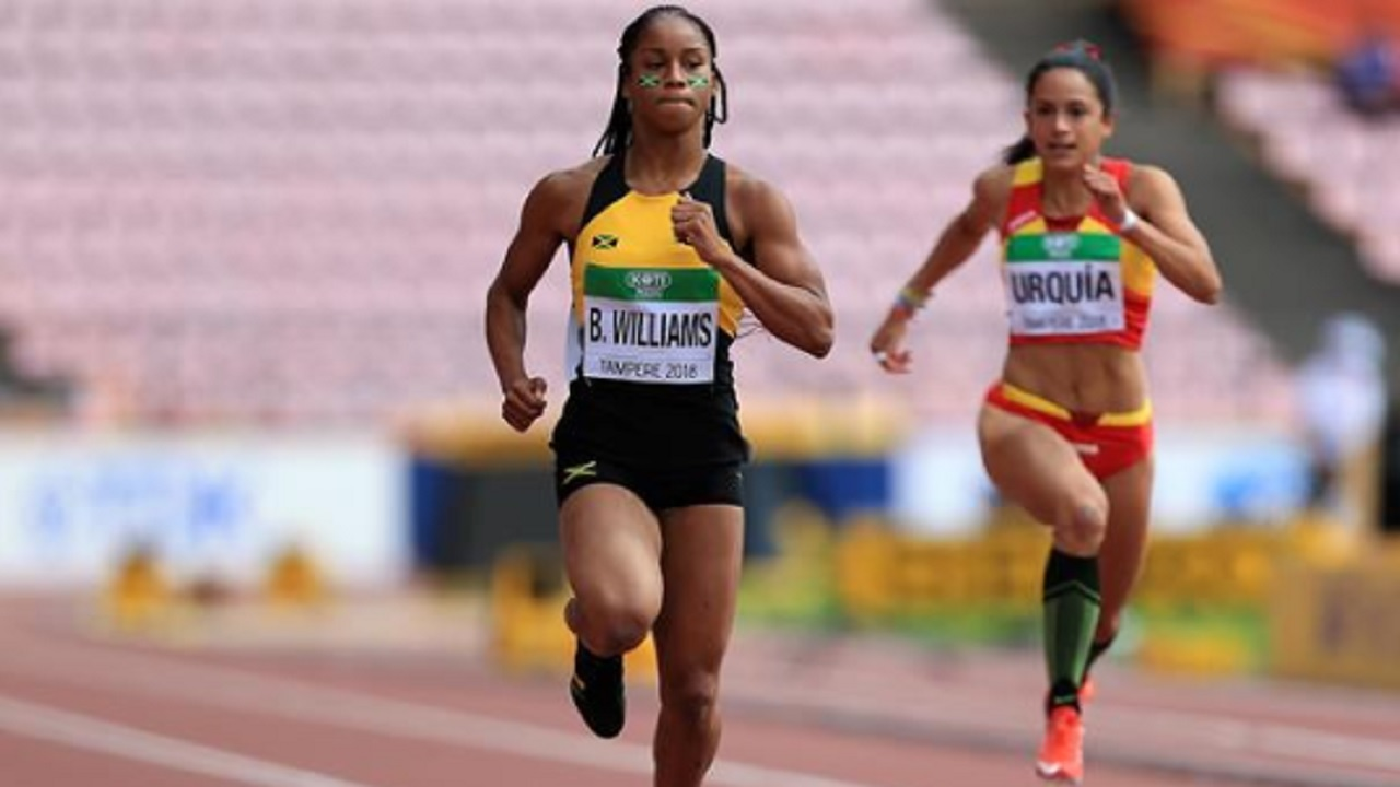 USA-based Jamaican sprinter Briana Williams in action during the heats of the women's 100m at the IAAF World Under 20 Championships in Tampere, Finland on Wednesday. (PHOTO: IAAF).