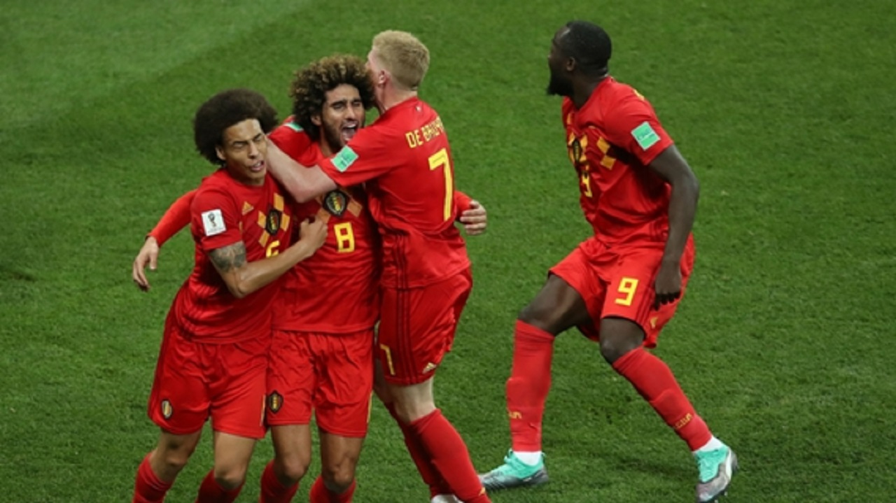 Belgium celebrate against Japan.