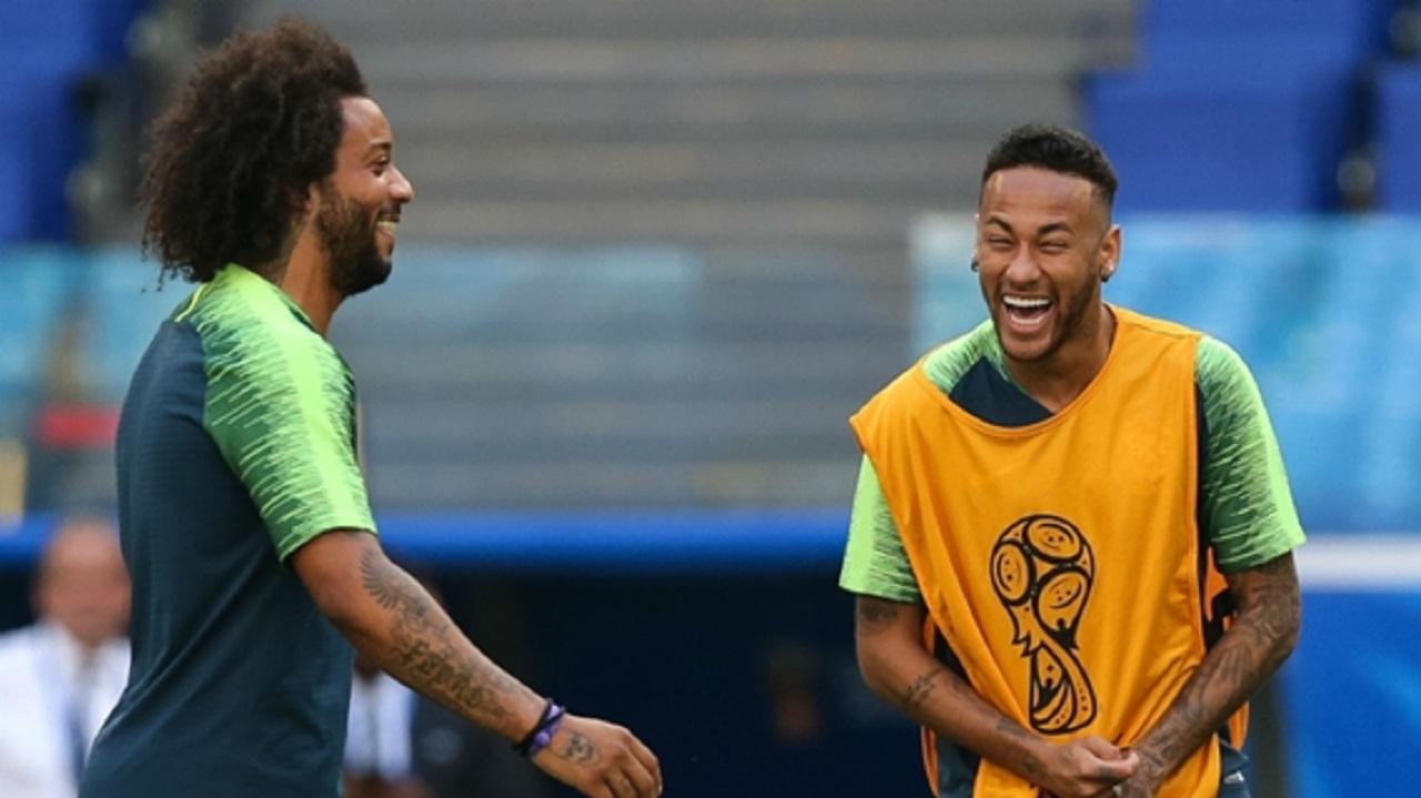 Brazil stars Neymar and Marcelo.