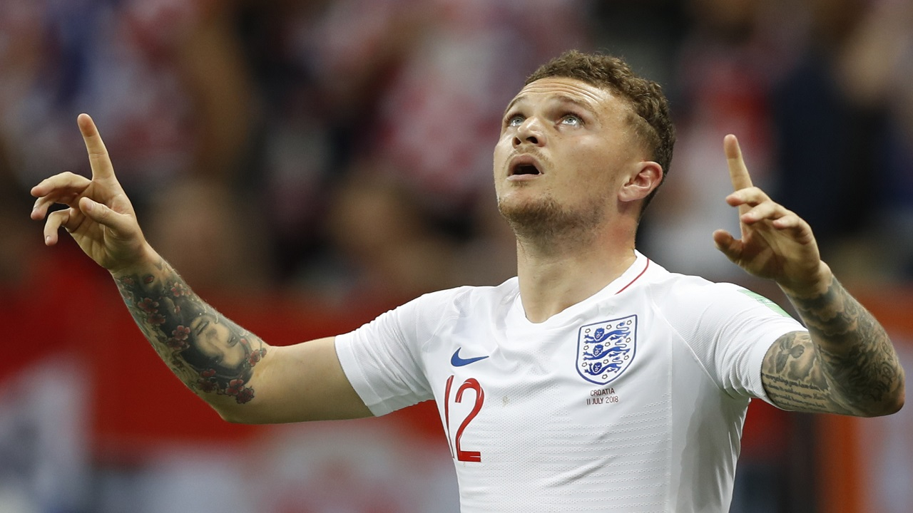 England's Kieran Trippier celebrates after scoring the opening goal during the semifinal match against Croatia at the 2018 football World Cup in the Luzhniki Stadium in Moscow, Russia, Wednesday, July 11, 2018. (AP Photo/Francisco Seco).