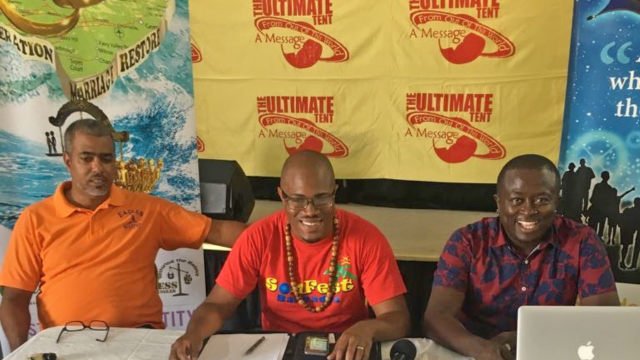 L-R: Matthew Clarke, Zimronn Andrews and Billboard Murrell of the Ultimate Calypso Tent.