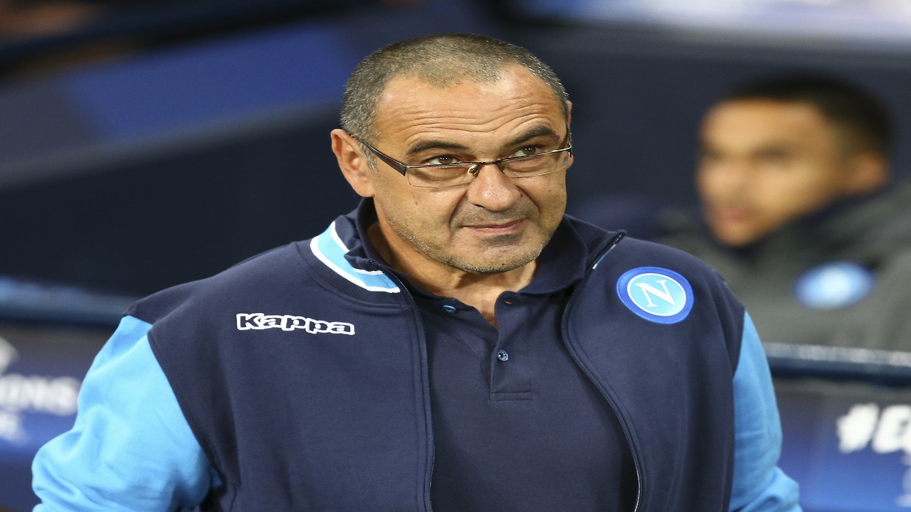 In this Oct. 17, 2017, file photo, Napoli coach Maurizio Sarri arrives prior to the start of the Champions League group F football match against Manchester City at the Etihad Stadium in Manchester, England. Chelsea has hired Maurizio Sarri as their manager on a three-year contract.