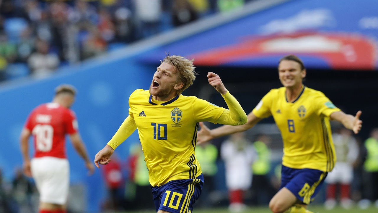 Sweden's Emil Forsberg celebrates after scoring during the round of 16 match against Switzerland at the 2018 football World Cup in the St. Petersburg Stadium, in St. Petersburg, Russia, Tuesday, July 3, 2018. (AP Photo/Efrem Lukatsky).