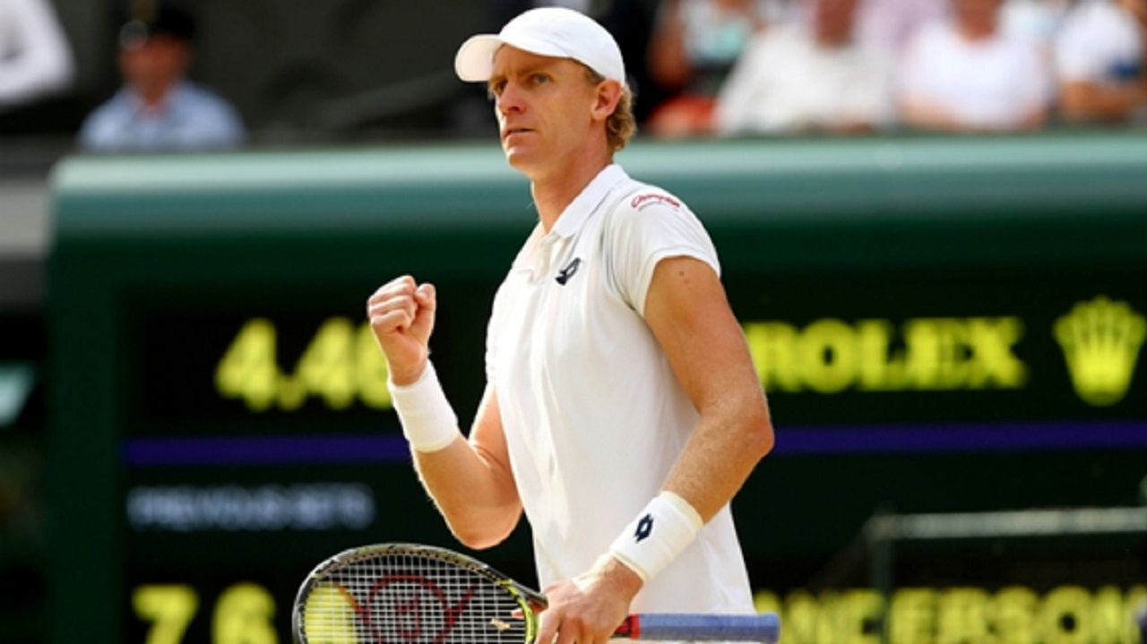Kevin Anderson celebrates during his semi-final at Wimbledon.
