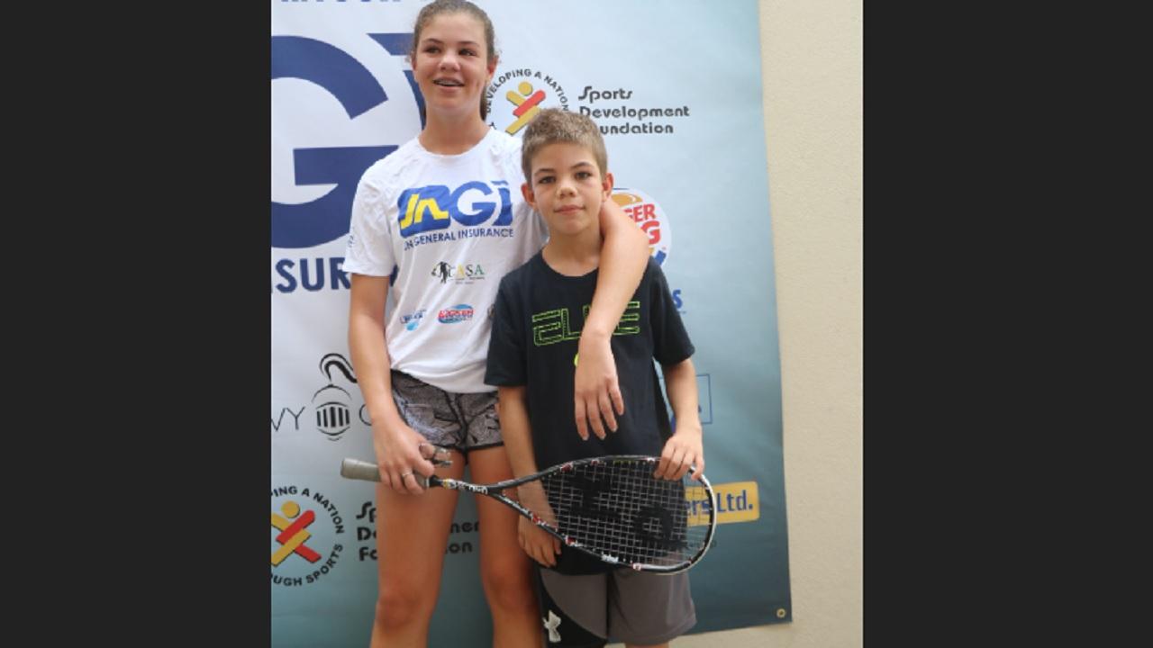 Squash siblings, Savannah and Lukas Thomson.