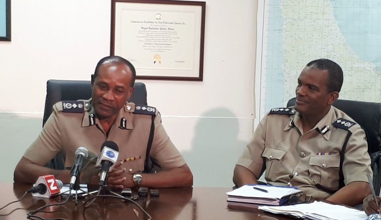 Commissioner of Police Tyrone Griffith (left) and Deputy Commissioner of Police, Erwin Boyce.