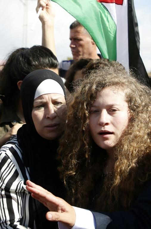 Ahed Tamimi, adolescente devenue icône de la résistance palestinienne, à sa sortie de huit mois de détention par Israël, près du village de Nabi Saleh, en Cisjordanie occupée, le 29 juillet 2018