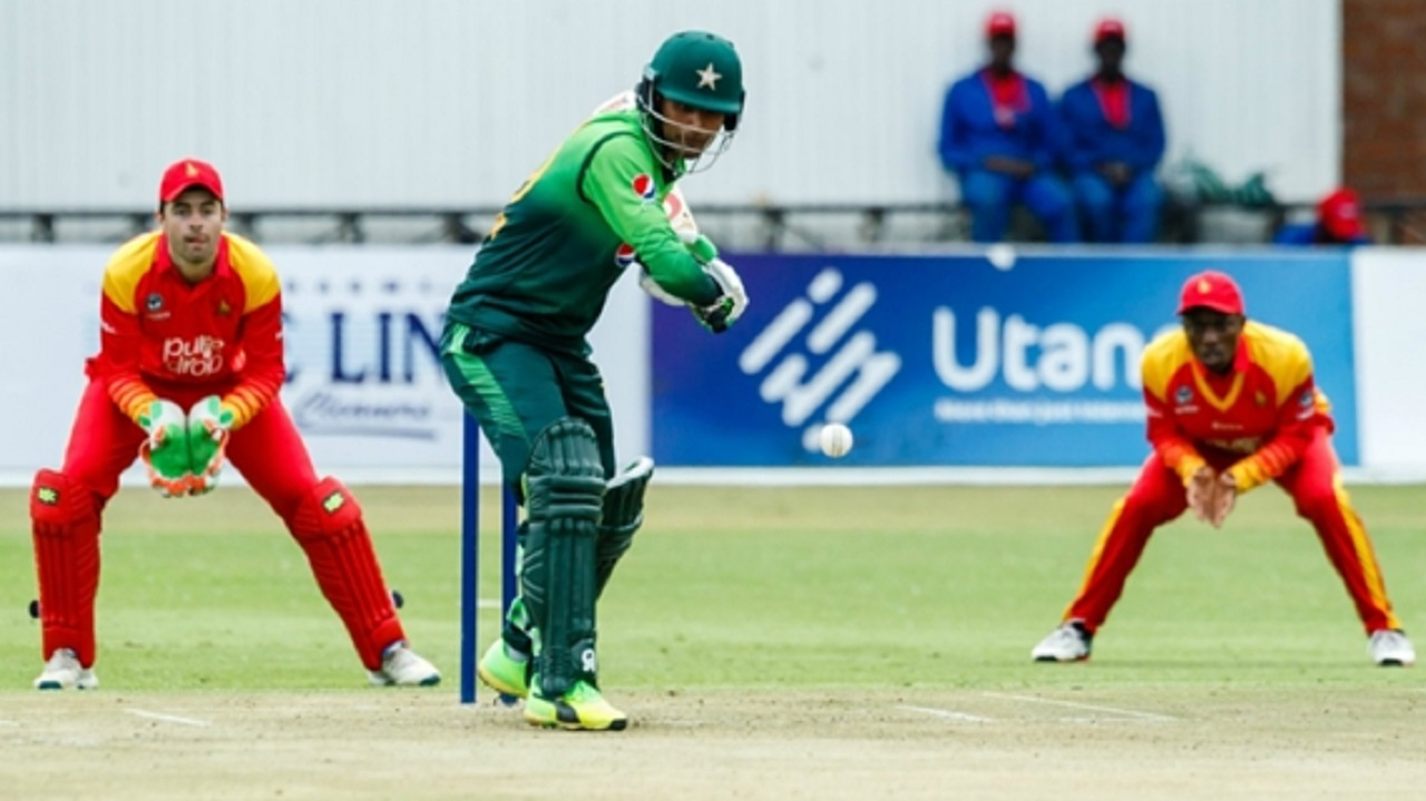 Fakhar Zaman in action against Zimbabwe.
