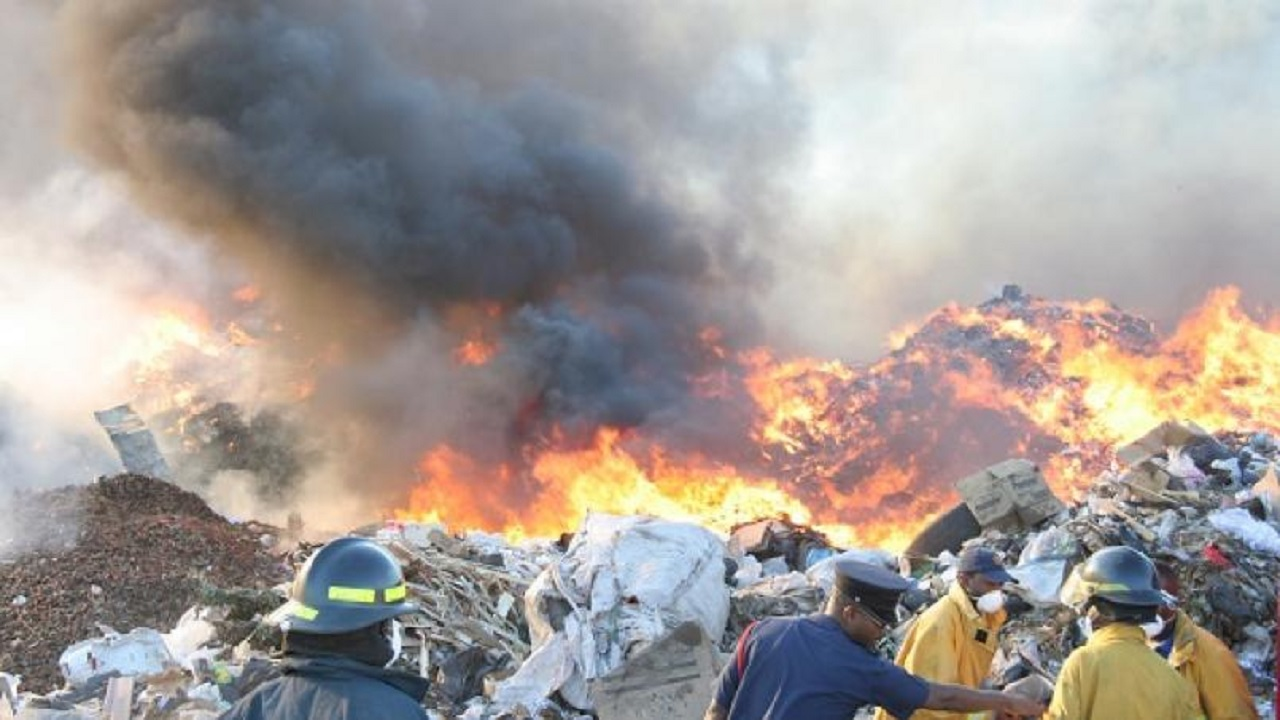 File photo of a fire at the Riverton dump in Kingston.