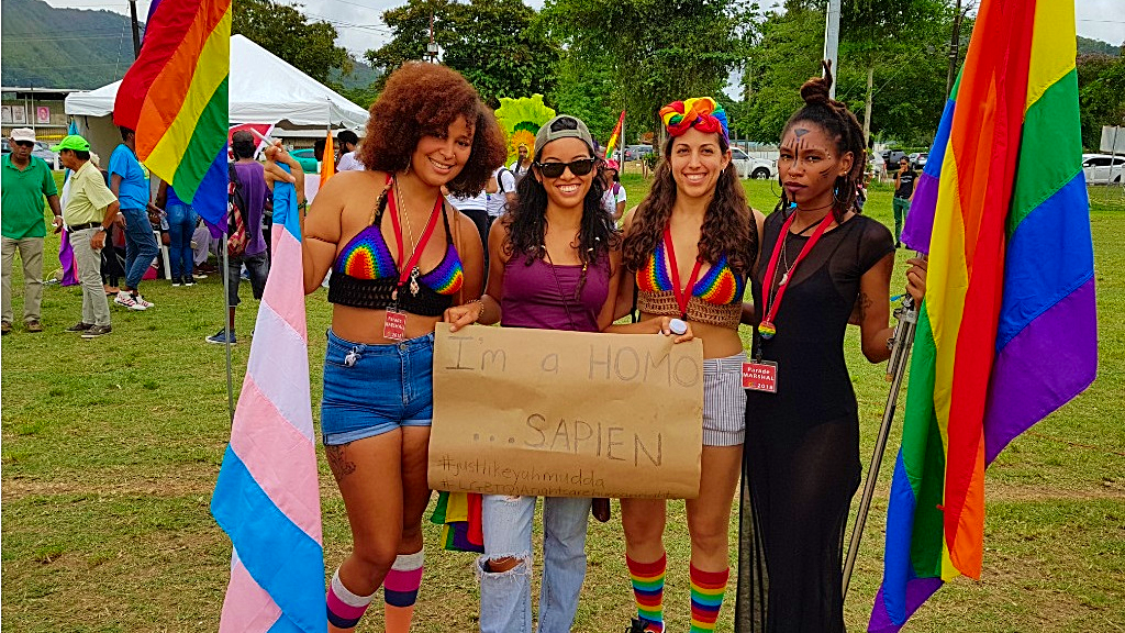 Photo: Supporters and members of the LGBTQIA community turn out in rainbow colours for the country's first Pride Parade in  Port of Spain on July 28, 2018.
