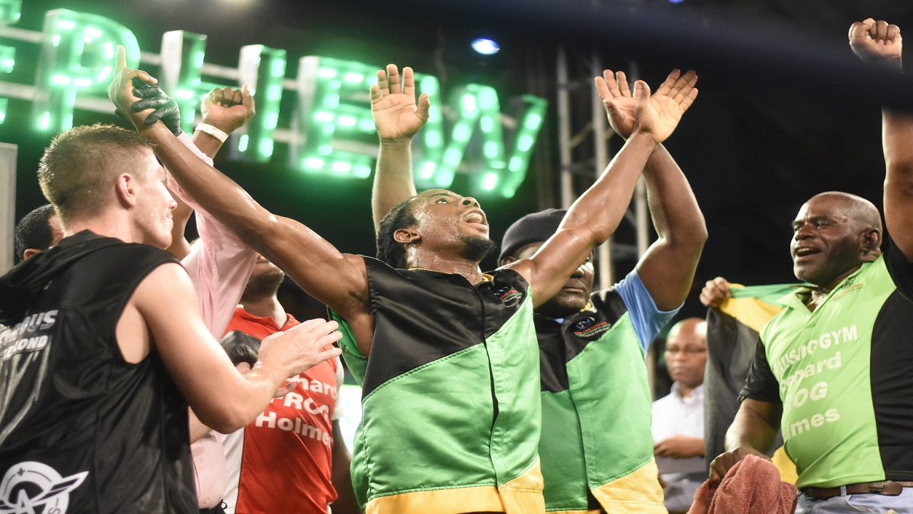 Jamaica's Richard 'Frog' Holmes reacts after he was declared winner of the first semi-final bout of the Wray and Nephew Contender against Canada's Dave Leblond at the Chinese Benevolent Association on Wednesday night. (PHOTO: Marlon Reid).