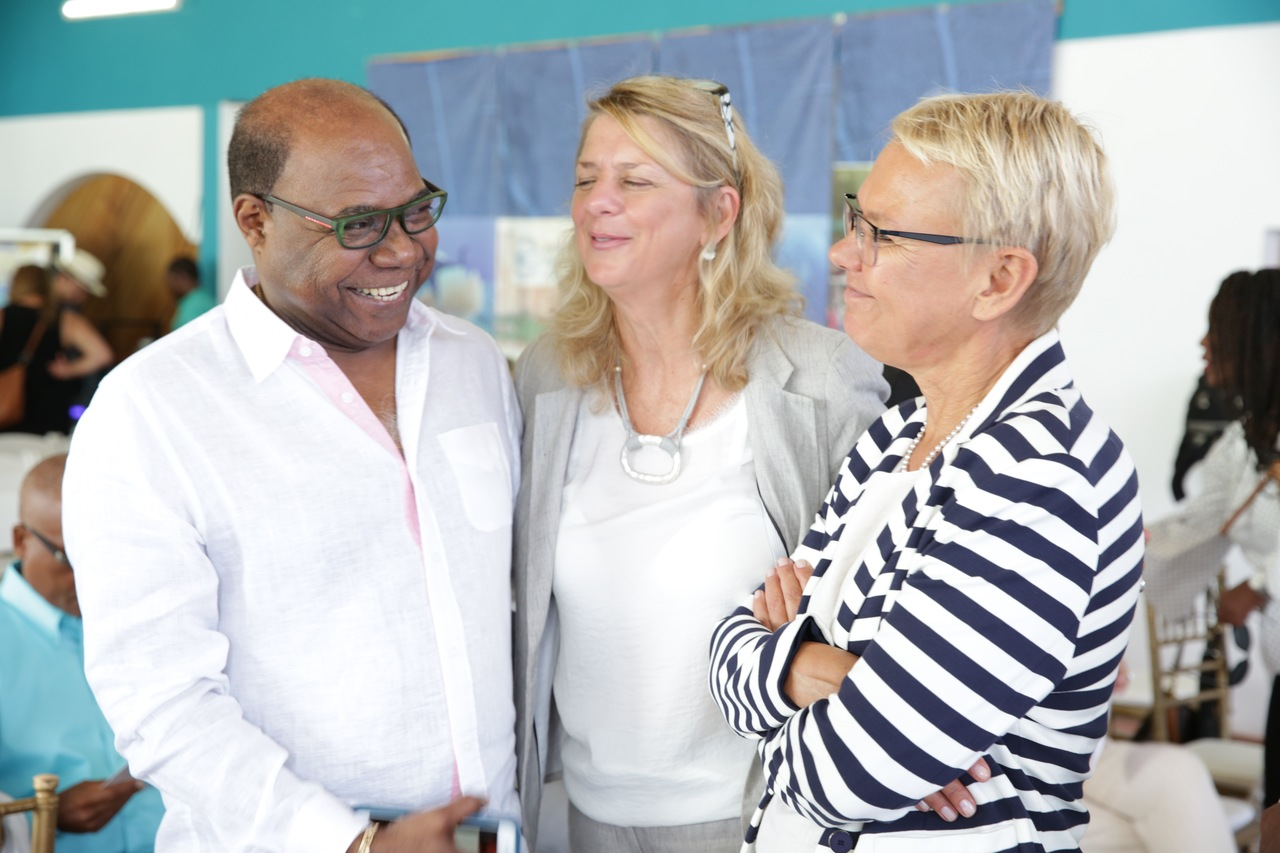 Tourism Minister Edmund Bartlett (left) shares a moment with Francesca Von Habsburg (centre), founder of Alligator Head Foundation and Malgorzata Wasilewska (right) Head of European Union Delegation to Jamaica.