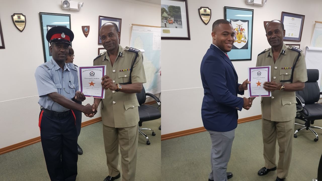 Left Photo: Police Constable Juamane Daniel receives his award from Commissioner of Police, Tyrone Griffith. Right Photo: Police Constable 1762 Ronnie Straughn Commissioner of Police, Tyrone Griffith.
