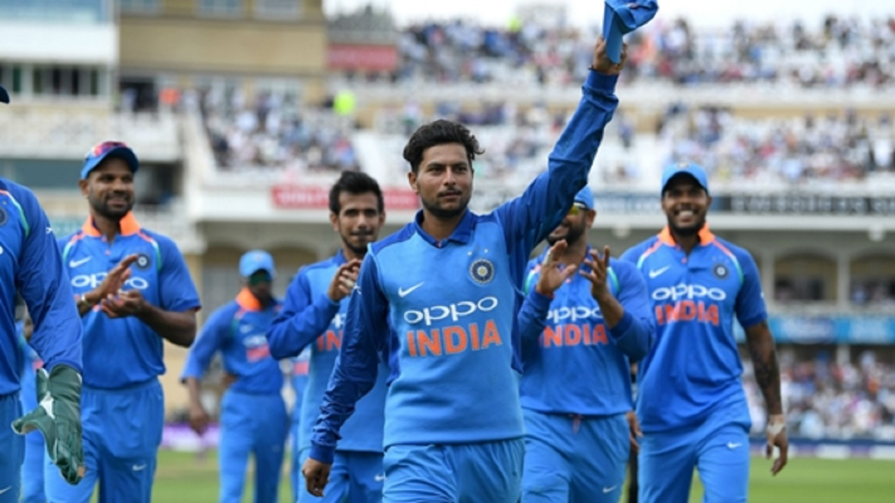 Kuldeep Yadav leads the celebrations at Trent Bridge.