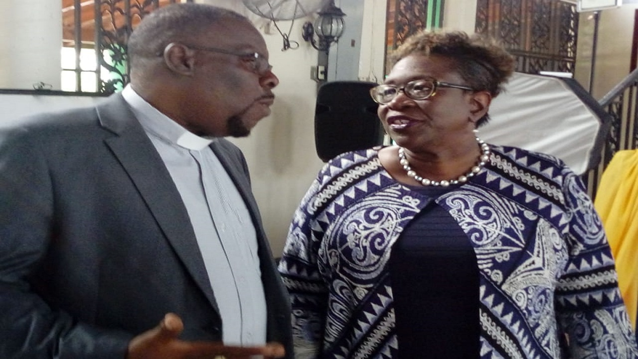 Director of Public Prosecutions (DPP) Paula Llewellyn and Westmoreland Custos, Hartley Perrin, in discussion in Westmoreland over the weekend.