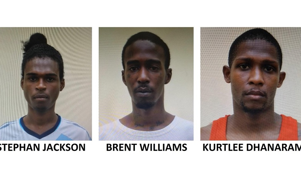 Photo: Three of five men held in connection with the seizure of a firearm and ammunition. Photo courtesy the TTPS.