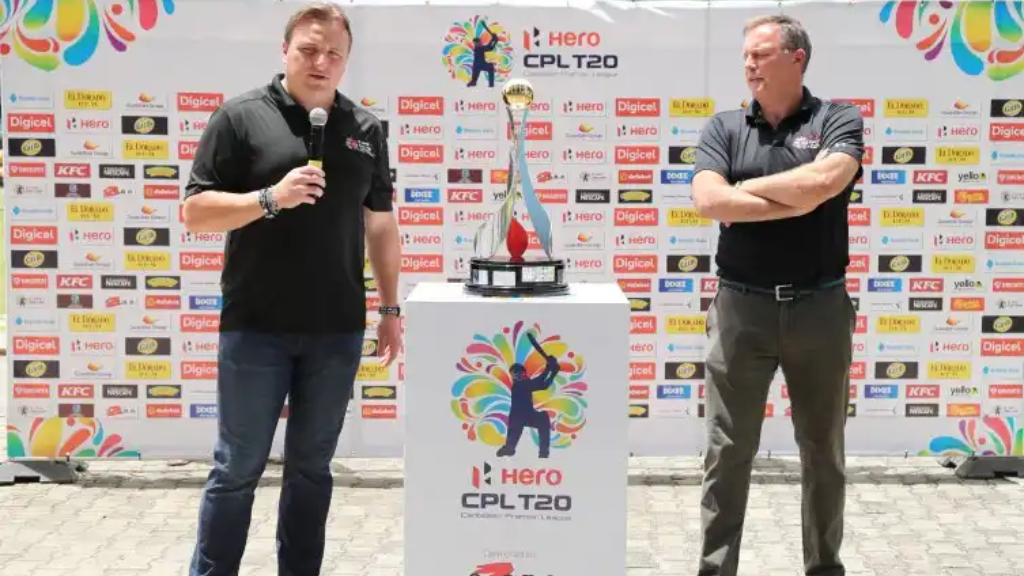 (L - R) Damien O'Donohoe, CEO of Hero CPL and Pete Russell, COO of Hero CPL at the launch of the new Hero CPL trophy (Photo: CPL T20 Ltd.2018)