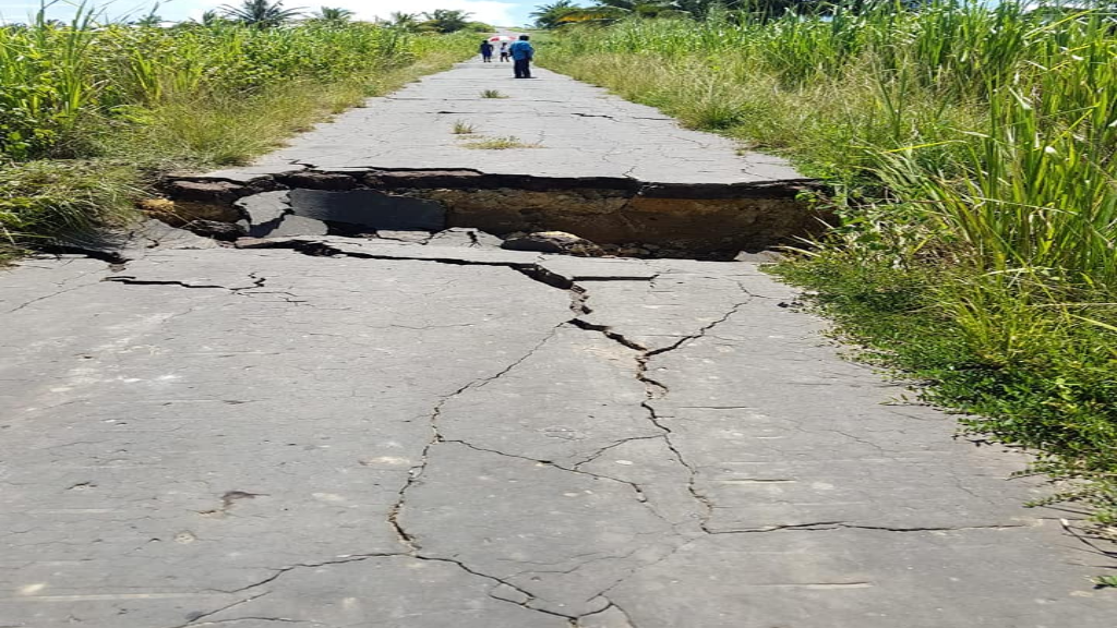 Roadway in Moruga cracked following earthquake on August 21.