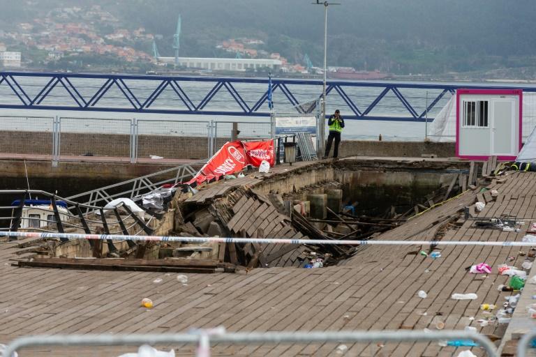 Promenade de front de mer effondrée à Vigo (nord-ouest de l'Espagne), le 13 août 2018