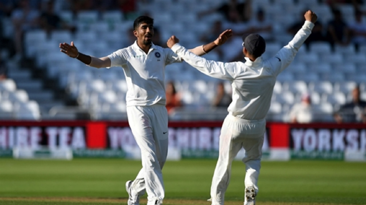 Jasprit Bumrah celebrates at Trent Bridge on day four.