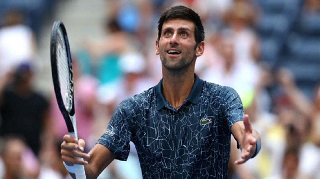 Novak Djokovic celebrates his first-round win at the US Open.