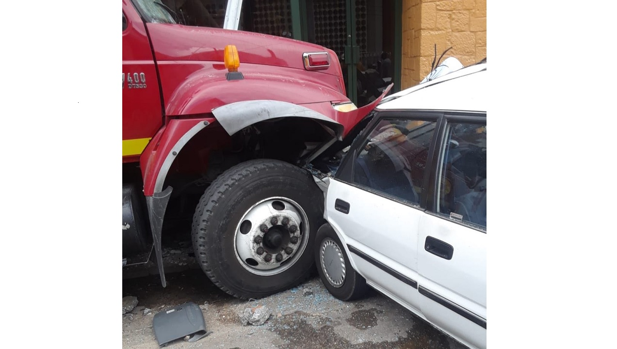 The crashed fire truck and another vehicle involved in a nine-vehicle accident in Montego Bay, St James on Tuesday.