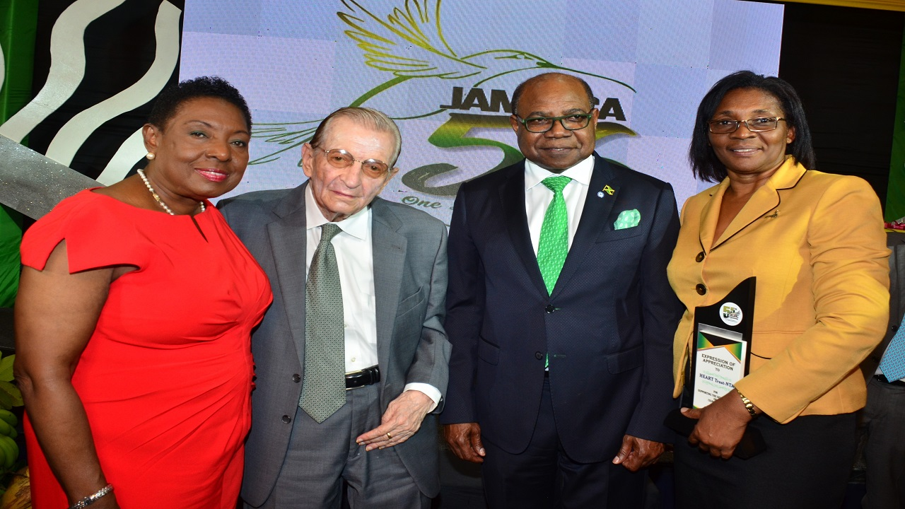 "(From left) Olivia ""Babsy"" Grange, Minister of Culture, Gender, Entertainment and Sports, Edward Seaga, Former Prime Minister of Jamaica, Edmund Bartlett, Tourism Minister, and Dr Janet Dyer, Managing Director of HEART Trust NTA at the Jamaica Cultural Development Commission's (JCDC) 55TH Anniversary Culinary Expo at the Jamaica Pegasus on Thursday, August 2."