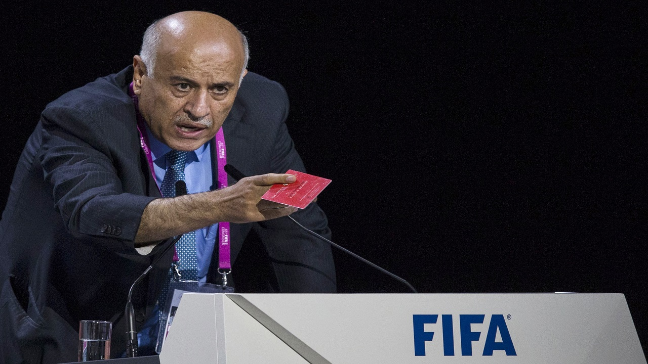 In this Friday, May 29, 2015 file photo Jibril Rajoub, president of the Palestinian Football Association speaks during the 65th FIFA Congress held at the Hallenstadion in Zurich, Switzerland.