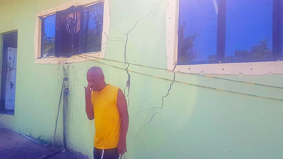 Photo: Cracks and other damage was sustained at a house along Penal Rock Road, Moruga. The Ministry of Rural Development and Local Government has received a total of 213 reports of damages from Tuesday's 6.9 earthquake, as of Thursday August 23, 2018.