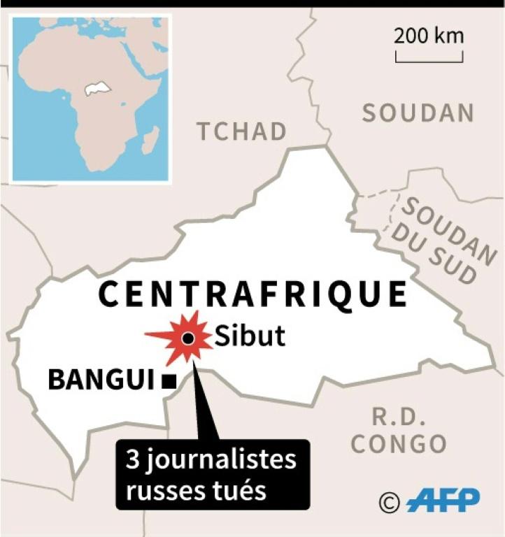Carte de Centrafrique localisant Sibut, ville près de laquelle 3 journalistes russes ont été tués dans la nuit de lundi à mardi