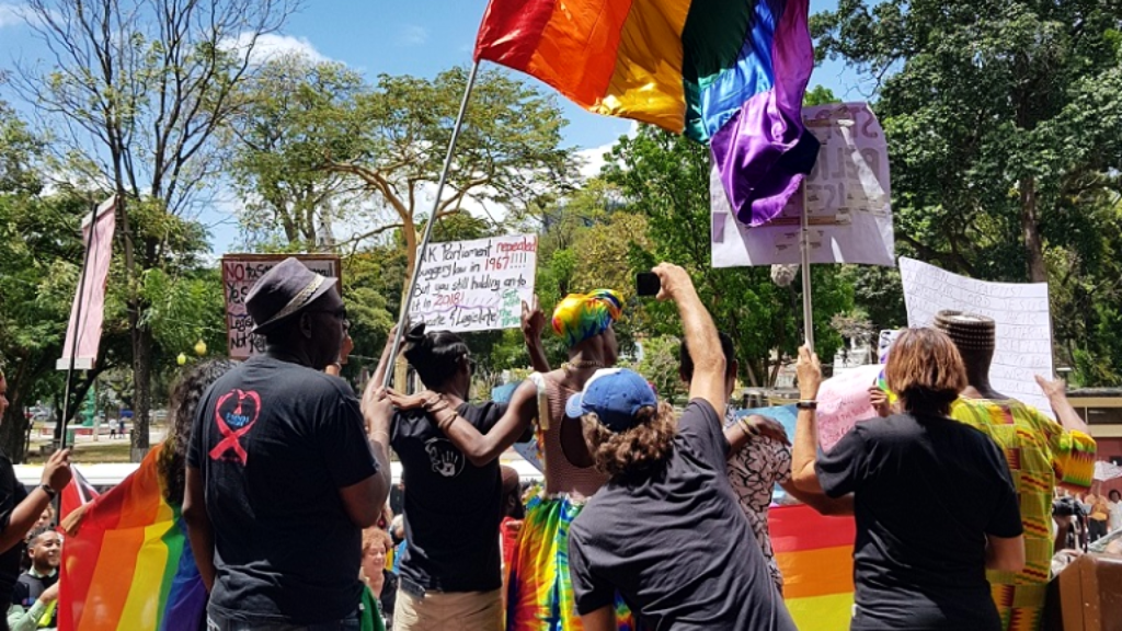 Photo: Supporters and members of the LGBTQI+ community celebrate on April 12, 2018 after T&T's High Court ruled in favour of appellant Jason Jones that the country's sodomy laws are unconstitutional.