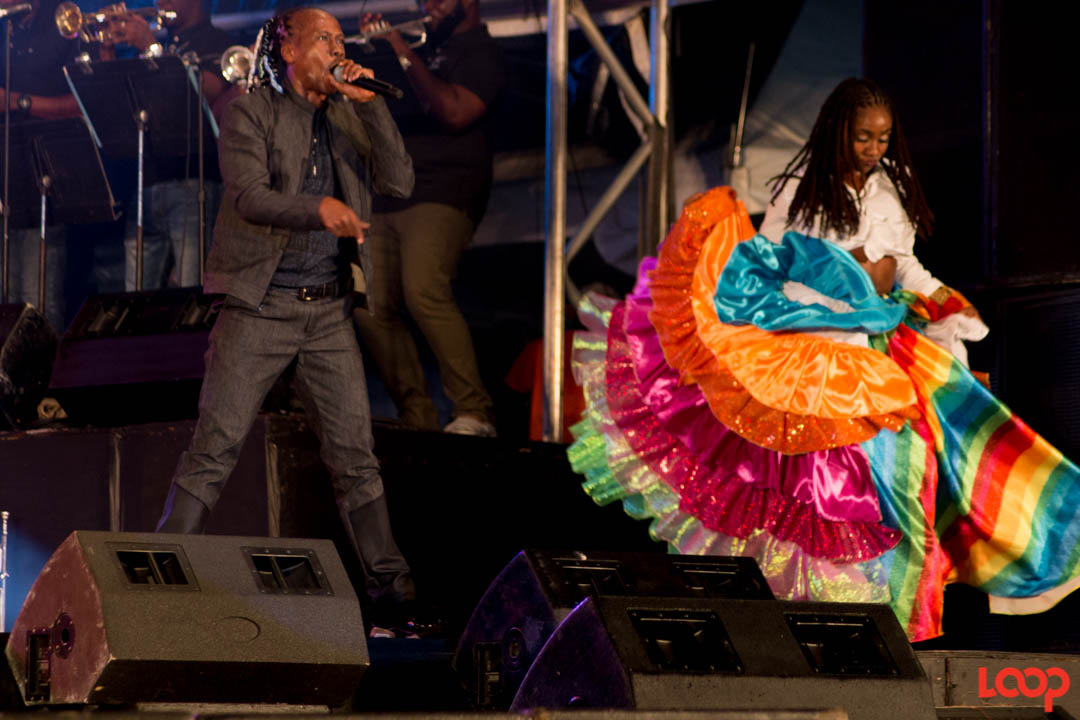 Lil Rick and Nandi as Mudda Sally in his Party Monarch performance at Soca Royale.