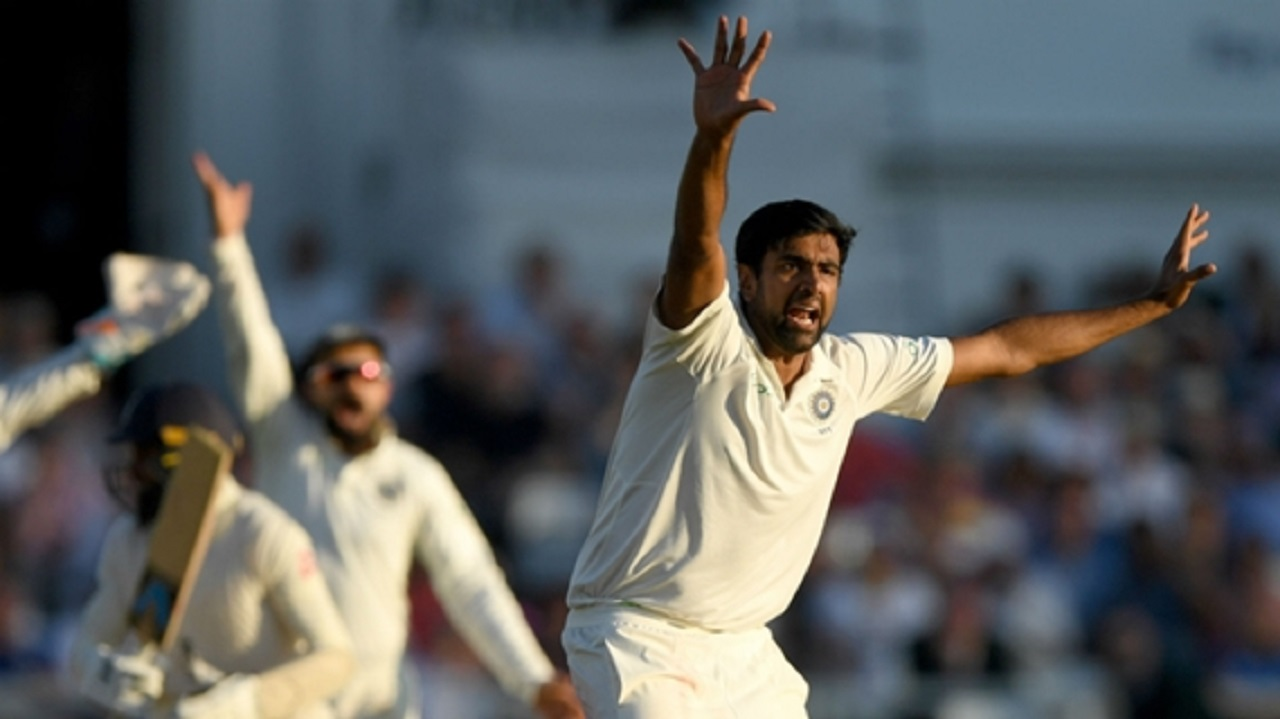 Ravi Ashwin appeals for a wicket at Trent Bridge.