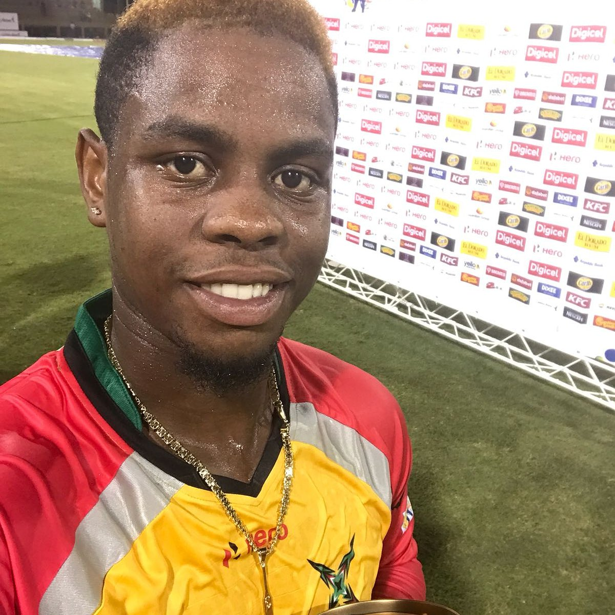 Hetmyer poses after his match-winning 79 not out off 45 balls (Photo courtesy www.cplt20.com)