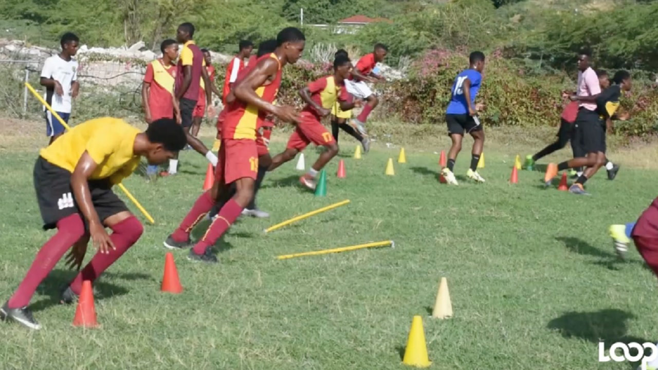 Members of Wolmer's Boys' School Manning Cup squad having a training session earlier this week.